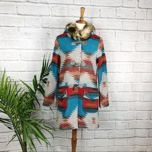 BB Dakota | Aztec Print Fur Hood Coat